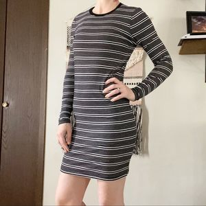 ATM | Striped Stretch Long Sleeve Bodycon Dress